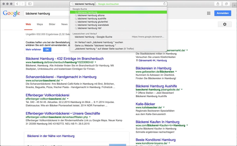 Beispiel für eine Longtail Keyword Suche